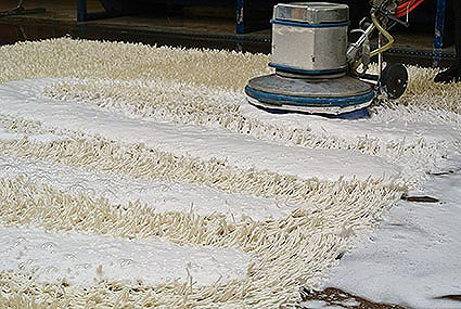A White Shage Rug With Rows Of Soap And A Gentle Scrubber Being Run Over It