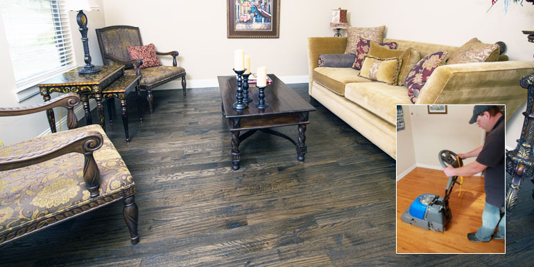 Wood flooring after being professionally cleaned.