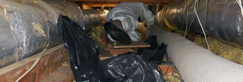 interior of an attic with a technician laying next to duct work